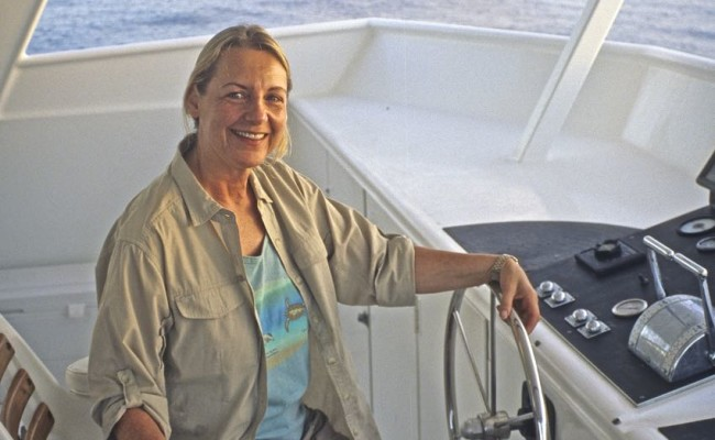 Judy at the helm (but don't worry – we were anchored!)